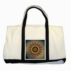 Folk Art Lotus Mandala Dirty Blue Red Two Tone Tote Bag