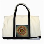 Folk Art Lotus Mandala Dirty Blue Red Two Tone Tote Bag Front