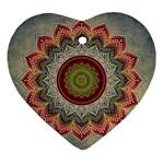 Folk Art Lotus Mandala Dirty Blue Red Heart Ornament (2 Sides) Back