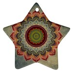 Folk Art Lotus Mandala Dirty Blue Red Star Ornament (Two Sides)  Front