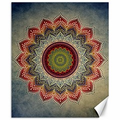 Folk Art Lotus Mandala Dirty Blue Red Canvas 8  X 10