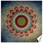 Folk Art Lotus Mandala Dirty Blue Red Canvas 12  x 12   12 x12 Canvas - 1