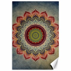 Folk Art Lotus Mandala Dirty Blue Red Canvas 12  X 18   by EDDArt