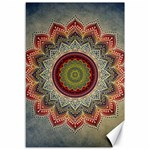 Folk Art Lotus Mandala Dirty Blue Red Canvas 12  x 18   18 x12 Canvas - 1