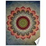 Folk Art Lotus Mandala Dirty Blue Red Canvas 18  x 24