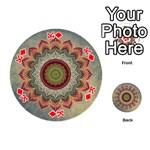 Folk Art Lotus Mandala Dirty Blue Red Playing Cards 54 (Round)  Front - DiamondK