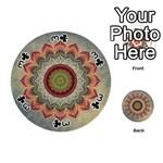 Folk Art Lotus Mandala Dirty Blue Red Playing Cards 54 (Round)  Front - Club3