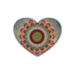 Folk Art Lotus Mandala Dirty Blue Red Heart Coaster (4 Pack)
