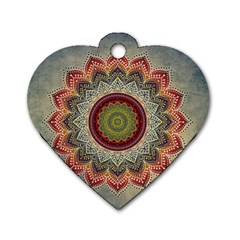 Folk Art Lotus Mandala Dirty Blue Red Dog Tag Heart (two Sides) by EDDArt