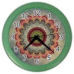 Folk Art Lotus Mandala Dirty Blue Red Color Wall Clocks