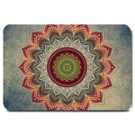 Folk Art Lotus Mandala Dirty Blue Red Large Doormat  30 x20 Door Mat - 1