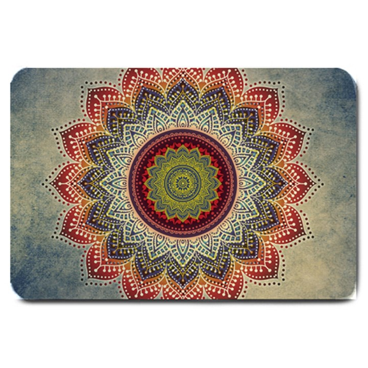Folk Art Lotus Mandala Dirty Blue Red Large Doormat