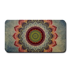Folk Art Lotus Mandala Dirty Blue Red Medium Bar Mats