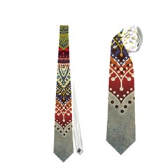 Folk Art Lotus Mandala Dirty Blue Red Neckties (one Side)  by EDDArt