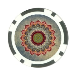Folk Art Lotus Mandala Dirty Blue Red Poker Chip Card Guards by EDDArt