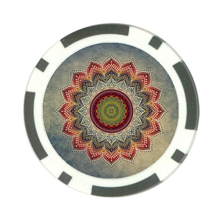 Folk Art Lotus Mandala Dirty Blue Red Poker Chip Card Guards