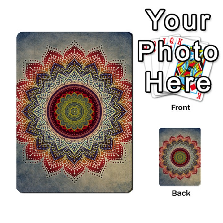 Folk Art Lotus Mandala Dirty Blue Red Multi-purpose Cards (Rectangle)