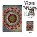 Folk Art Lotus Mandala Dirty Blue Red Multi-purpose Cards (Rectangle)  Front 36