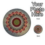 Folk Art Lotus Mandala Dirty Blue Red Multi-purpose Cards (Round)  Front 9