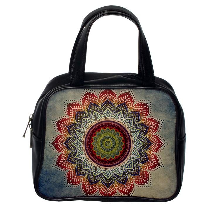 Folk Art Lotus Mandala Dirty Blue Red Classic Handbags (One Side)