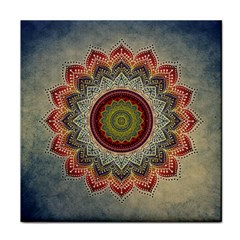 Folk Art Lotus Mandala Dirty Blue Red Face Towel by EDDArt