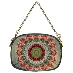 Folk Art Lotus Mandala Dirty Blue Red Chain Purses (two Sides)  by EDDArt