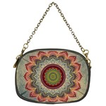 Folk Art Lotus Mandala Dirty Blue Red Chain Purses (Two Sides)  Front