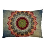 Folk Art Lotus Mandala Dirty Blue Red Pillow Case 26.62 x18.9 Pillow Case