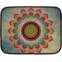 Folk Art Lotus Mandala Dirty Blue Red Fleece Blanket (mini) by EDDArt