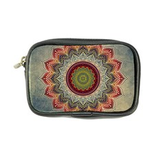 Folk Art Lotus Mandala Dirty Blue Red Coin Purse by EDDArt