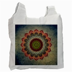 Folk Art Lotus Mandala Dirty Blue Red Recycle Bag (one Side)