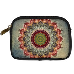 Folk Art Lotus Mandala Dirty Blue Red Digital Camera Cases