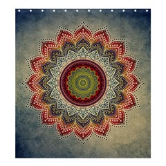 Folk Art Lotus Mandala Dirty Blue Red Shower Curtain 66  X 72  (large)  by EDDArt