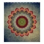 Folk Art Lotus Mandala Dirty Blue Red Shower Curtain 66  x 72  (Large)  58.75 x64.8 Curtain