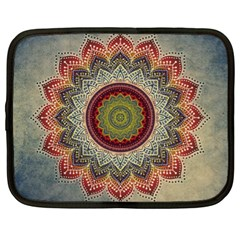 Folk Art Lotus Mandala Dirty Blue Red Netbook Case (xl)