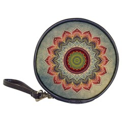 Folk Art Lotus Mandala Dirty Blue Red Classic 20 Cd Wallets by EDDArt