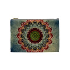 Folk Art Lotus Mandala Dirty Blue Red Cosmetic Bag (medium)  by EDDArt