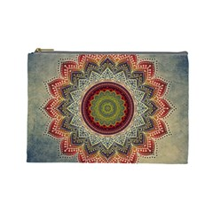 Folk Art Lotus Mandala Dirty Blue Red Cosmetic Bag (large)