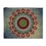 Folk Art Lotus Mandala Dirty Blue Red Cosmetic Bag (XL) Front