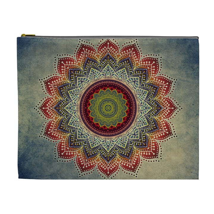 Folk Art Lotus Mandala Dirty Blue Red Cosmetic Bag (XL)