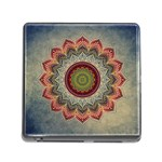Folk Art Lotus Mandala Dirty Blue Red Memory Card Reader (Square) Front