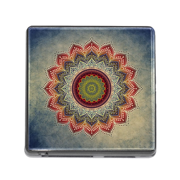 Folk Art Lotus Mandala Dirty Blue Red Memory Card Reader (Square)