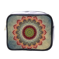 Folk Art Lotus Mandala Dirty Blue Red Mini Toiletries Bags