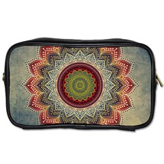 Folk Art Lotus Mandala Dirty Blue Red Toiletries Bags by EDDArt