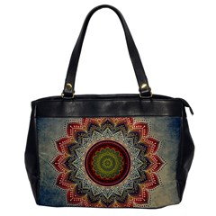 Folk Art Lotus Mandala Dirty Blue Red Office Handbags
