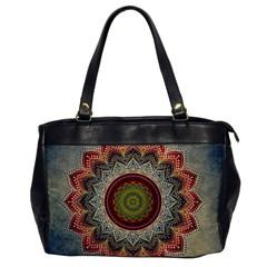Folk Art Lotus Mandala Dirty Blue Red Office Handbags by EDDArt