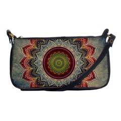 Folk Art Lotus Mandala Dirty Blue Red Shoulder Clutch Bags