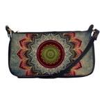 Folk Art Lotus Mandala Dirty Blue Red Shoulder Clutch Bags Front