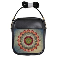 Folk Art Lotus Mandala Dirty Blue Red Girls Sling Bags by EDDArt