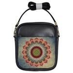 Folk Art Lotus Mandala Dirty Blue Red Girls Sling Bags